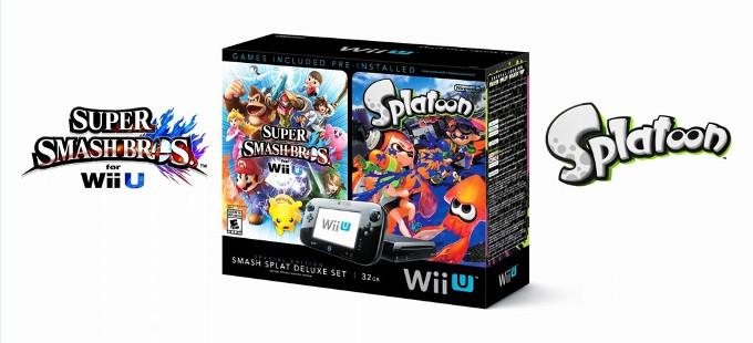 Nintendo Wii U con Splatoon y Super Smash Bros.
