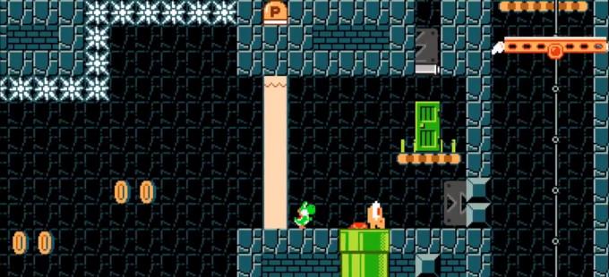 Perils of the Perplexing Pyramid de Yoshi's Woolly World en Super Mario Maker