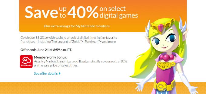 [E3 2016] 40% de descuento en las ofertas de la Nintendo eShop
