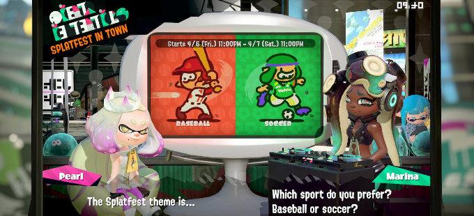 El nuevo Splatfest de Splatoon 2 para Nintendo Switch es béisbol vs. fútbol