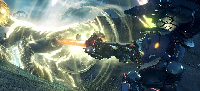 T-elos Re: y Poppi Buster en acción en Xenoblade Chronicles 2 para Nintendo Switch