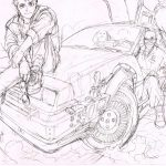 Boceto Manga de Yuusuke Murata de Volver al futuro