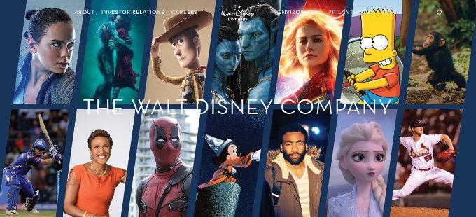 Así amanece el sitio web de The Walt Disney Company