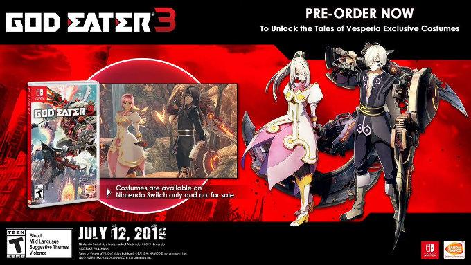 God Eater 3 para Nintendo Switch  - Trajes de Tales of Vesperia